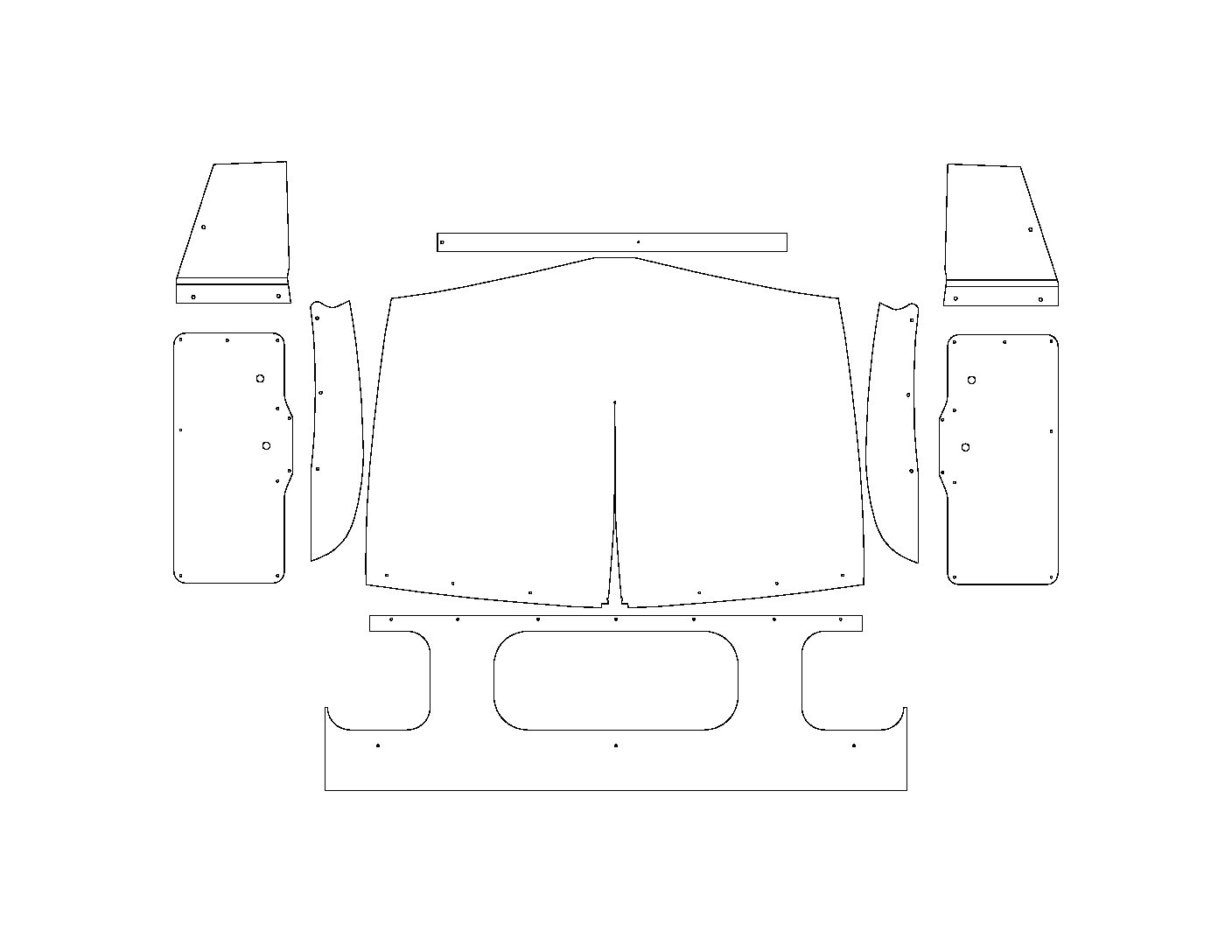 48-50 Dodge Truck Pilot House Interior Kit-Hump Door Panels