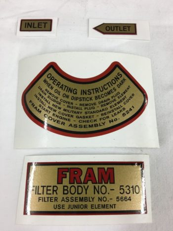 Fram Oil Filter Decal Set