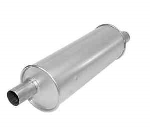 "6"" Round Muffler 18"" Long 2""in – 2""out"