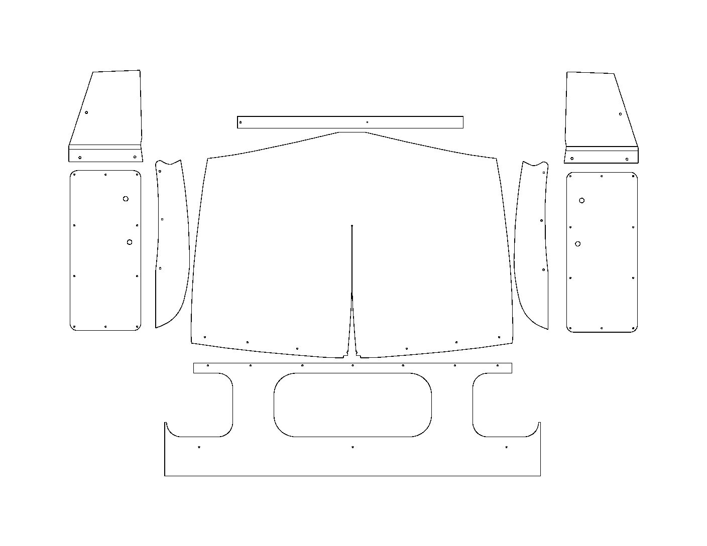 51-53 Dodge Truck Pilot House Interior Kit-Rectangular Door Panels