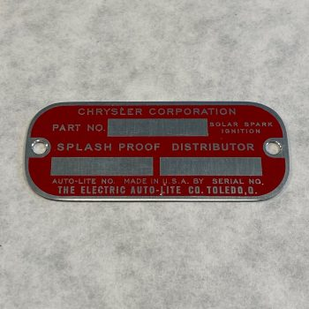 "Chrysler ""Splash Proof"" Distributor Dataplate"